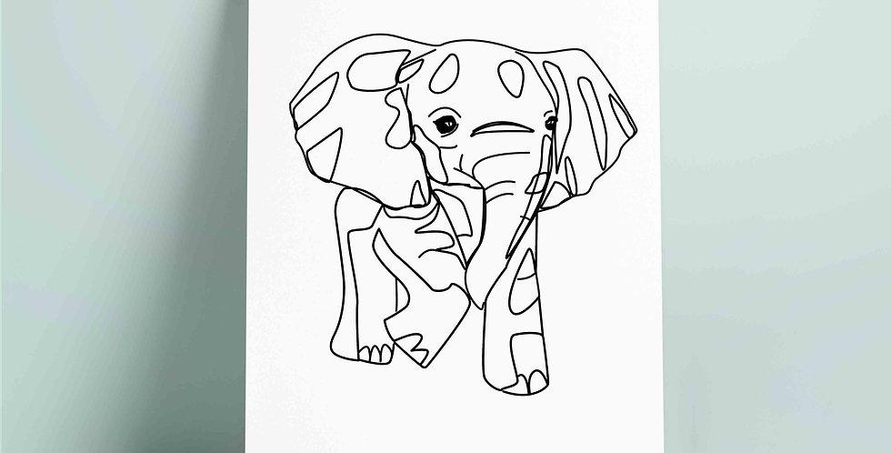 SORT A4 fargelegging motiv: elefant