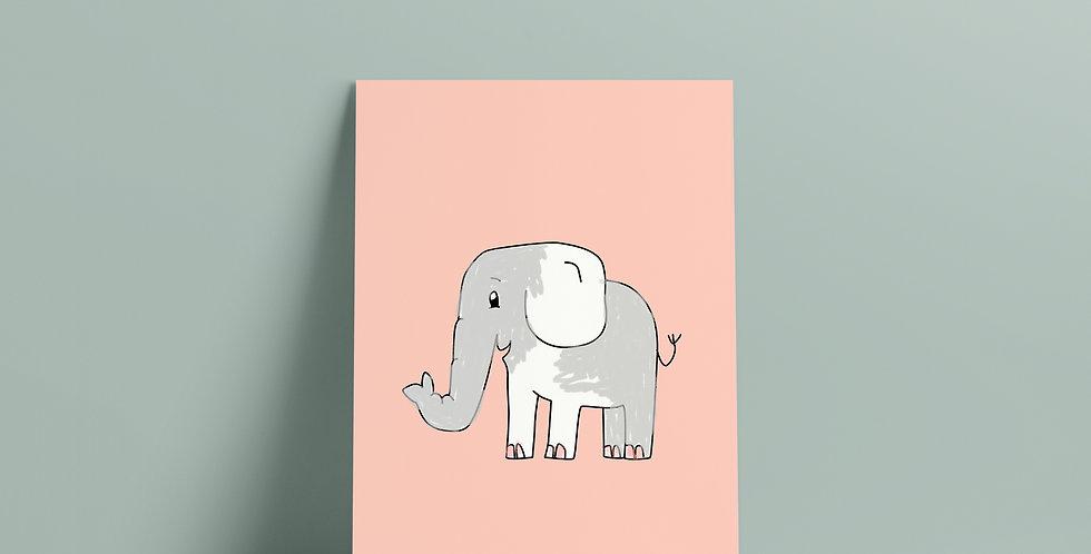 Postkort: Sigurd og Eli elefant