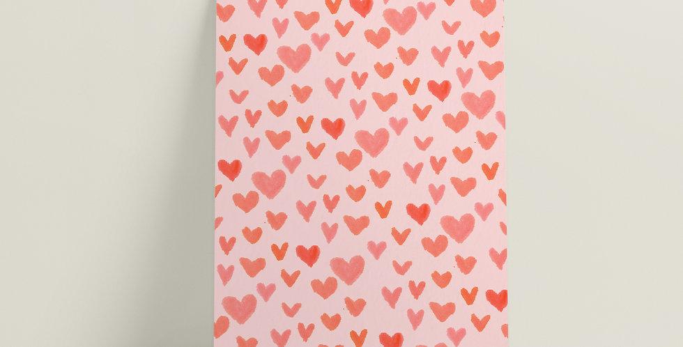 Kort: Rosa hjerter