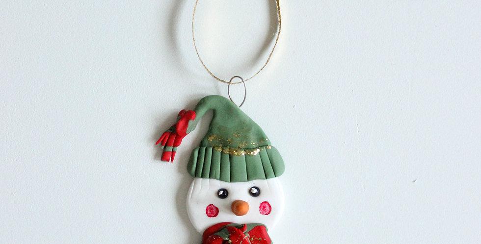 Julepynt snømann med lue2