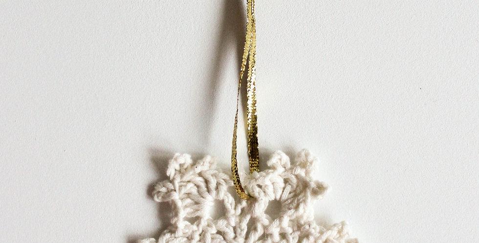 Julepynt snøkrystall (ivory + gull)