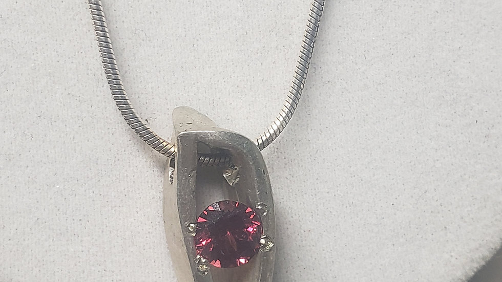 silver and garnet pendant