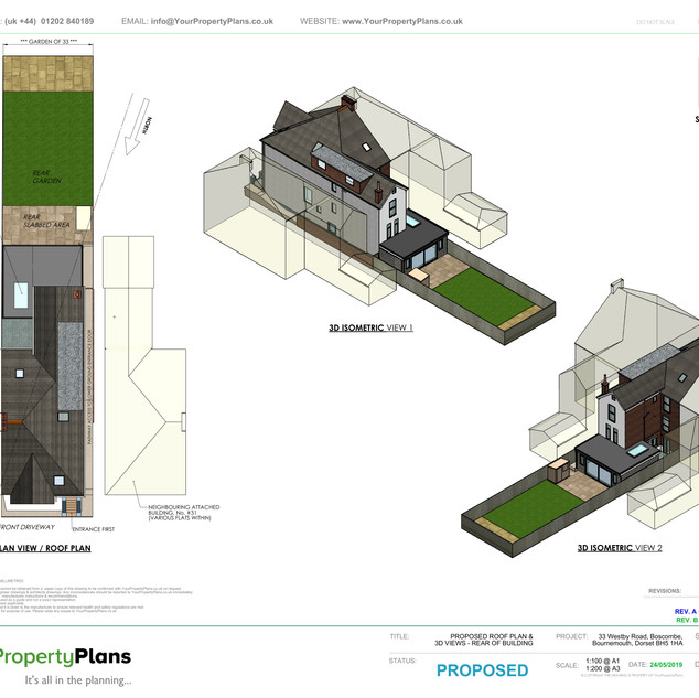 YPP361 - Proposed - Plan view & 3D views - Rear Extension - BH5