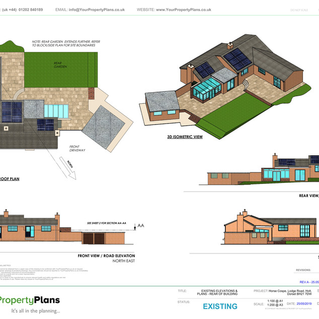 YPP360 - Existing - Plan, Elevations & 3D View - Holt, East Dorset BH21