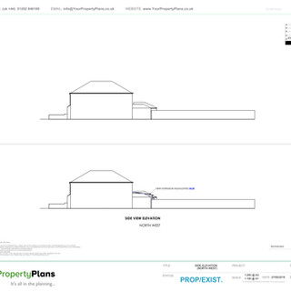 YPP350 - Proposed and Existing Rear Extension Side Elevation - BH6