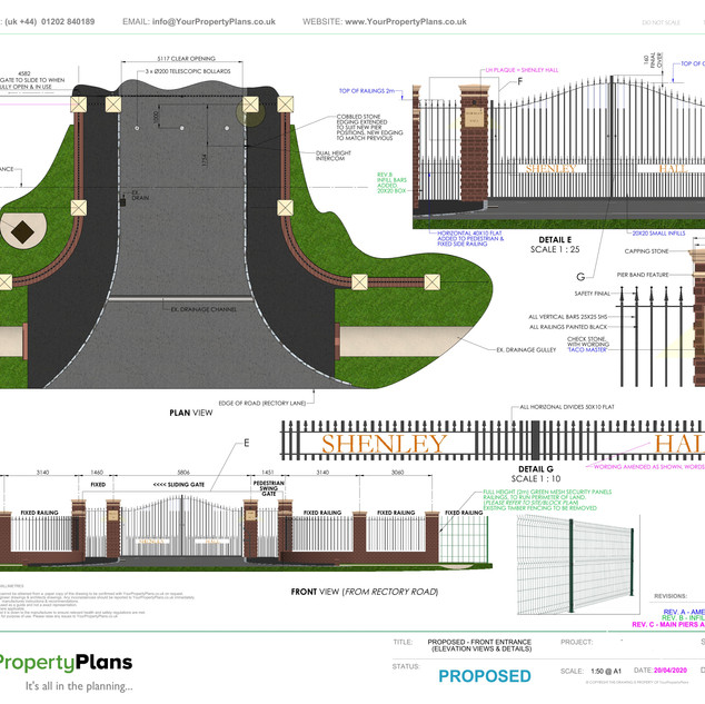 YPP377 - Proposed Front Entrance/ Gates/ Piers - planning drawings - WD7