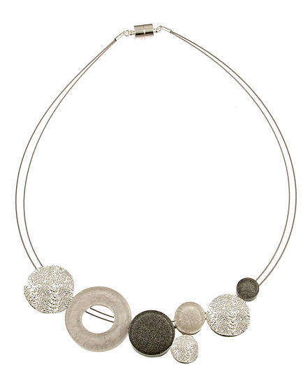 White/Grey Marble Resin Necklace