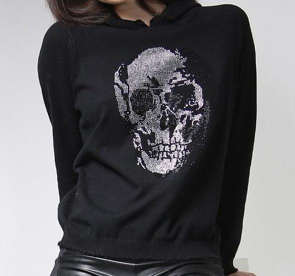 MinnieRose Fine Cotton/Cashmere Frayed Hoodie w/ Stud Skull