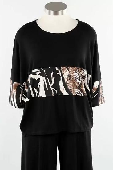 Alembika Elbow Sleeve Top - Savannah Stripe