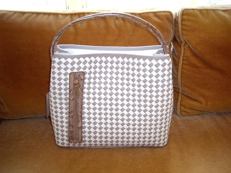 Samoe Style Grey/Cream Basket Weave Bag