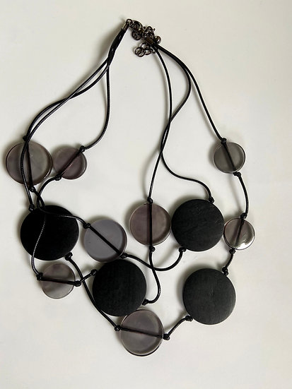 Black Wire Necklace with Smokey/Black Circles