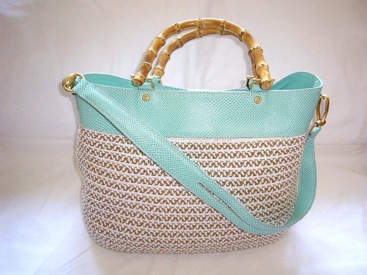 Eric Javits Mint Green Snakeskin/Bermix Handbag