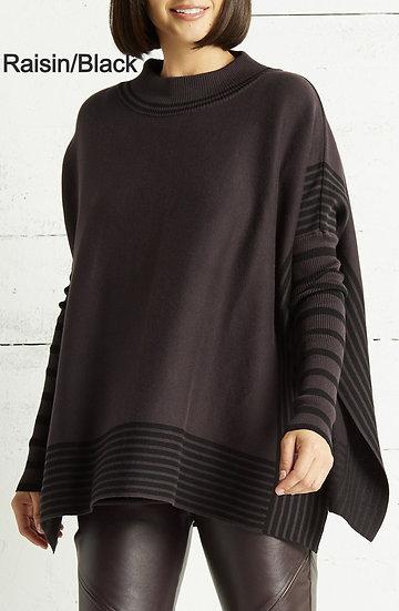 PLANET Pima Cotton Mock Neck Panel Sweater