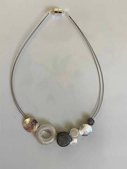 White/ Gold/Grey Marble Resin Necklace