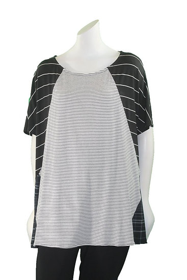 Alembika Black/White Striped High Low Pullover