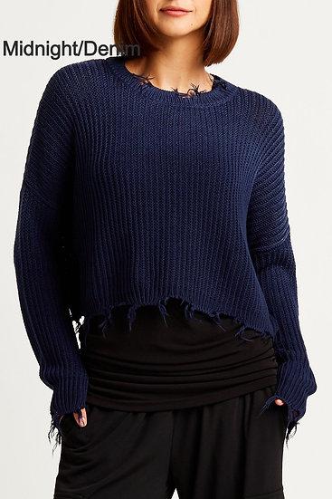 PLANET Pima Cotton Tattered Crewneck Sweater