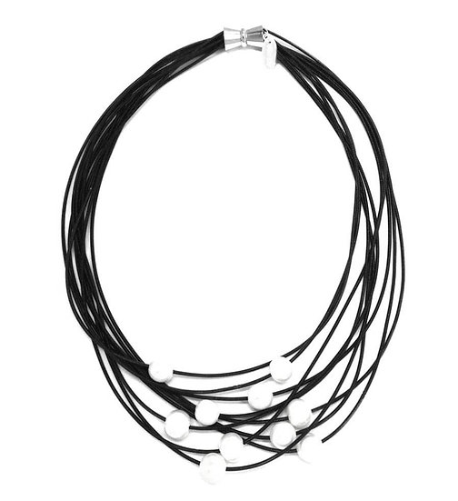 Sea Lily Black 10 Layer Silk Infused Wire Necklace w/Freshwater Pearl