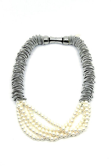 Sea Lily Silver Spring Ring  Necklace with 5 strand pearl