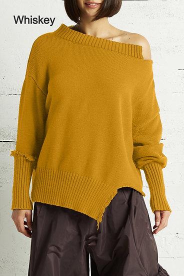 PLANET Pima Cotton Ragged Sweater (Whiskey)