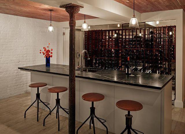 Basement wine cellar with bar