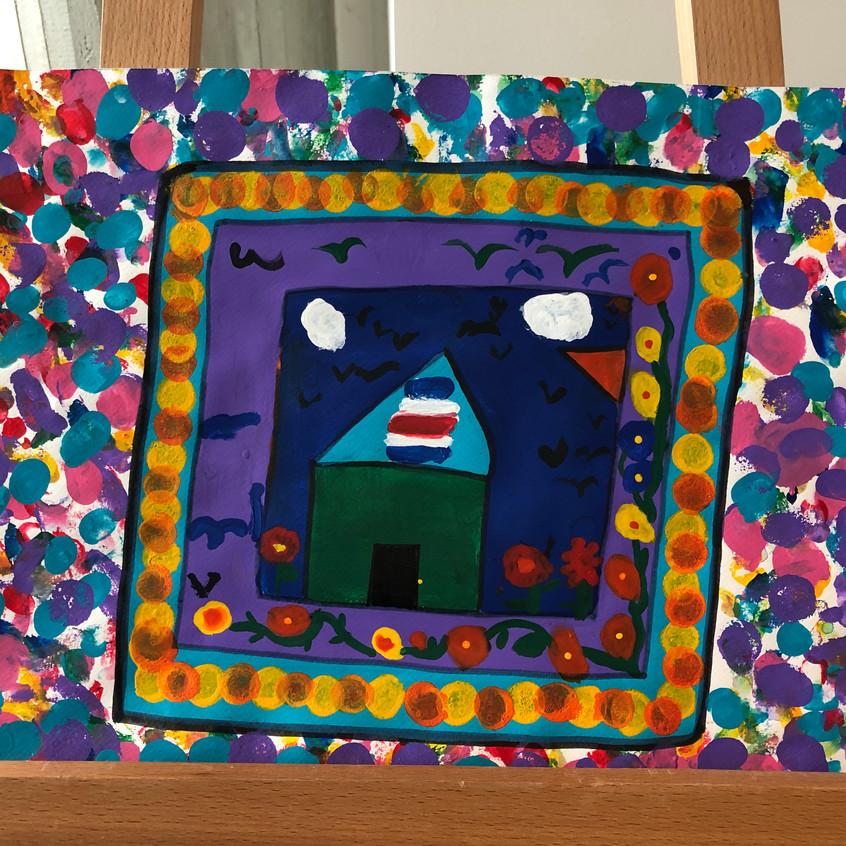 """""""Estoy a salvo en mi escuela"""", obra de arte presentada por St. Jude School y galardonada con el Primer lugar en la Categoría de Educación Preescolar."""
