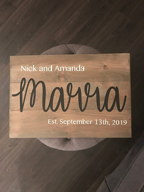 Board Art - Wedding Name