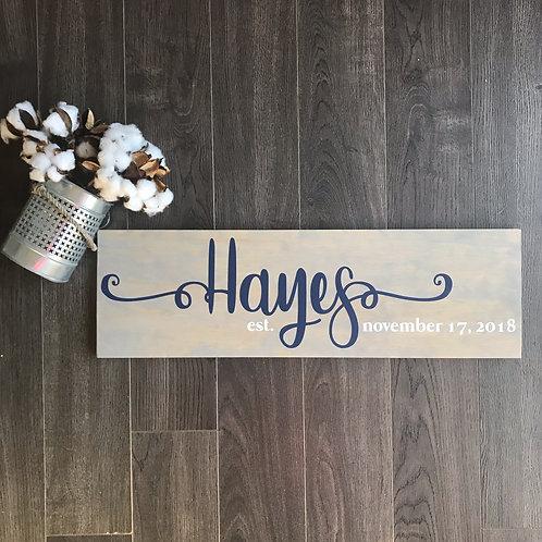 Board Art - Wedding Name Swirly