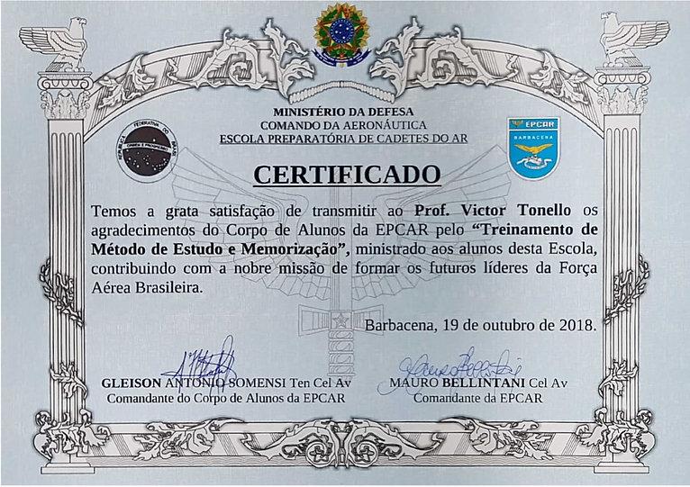 certificado EPCAR - Victor Tonello 2018.