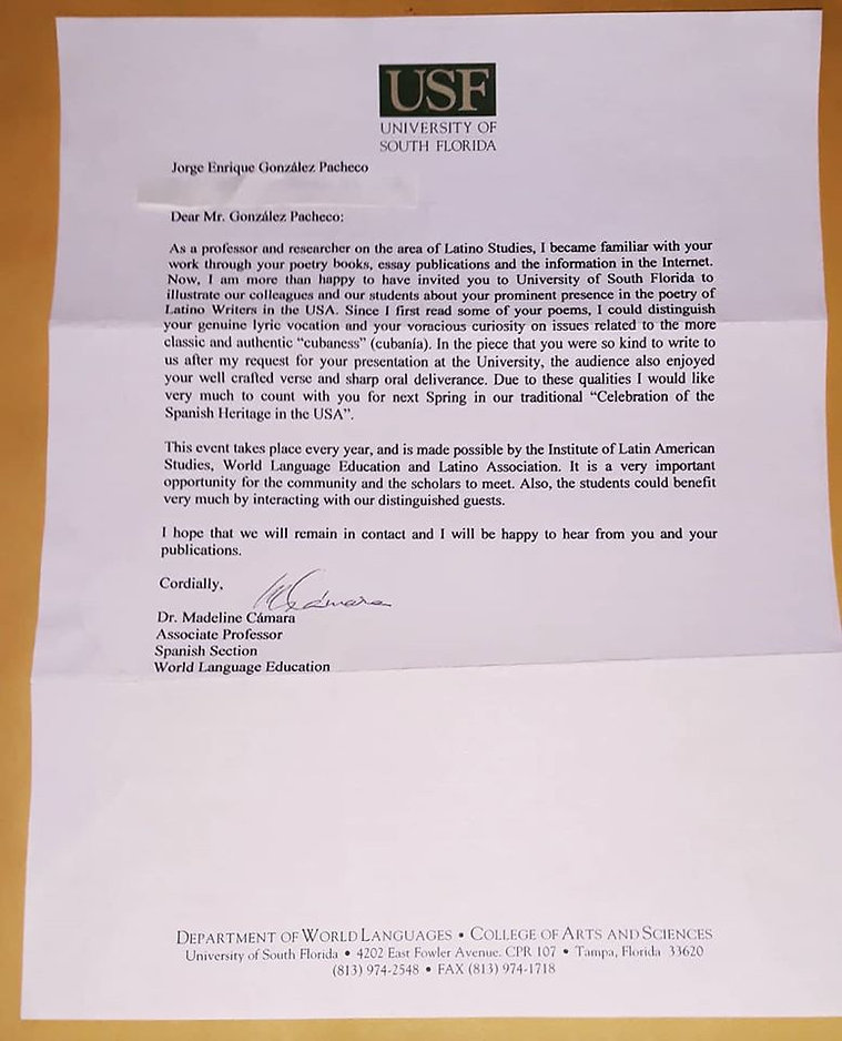 Letter from University of South Florida.