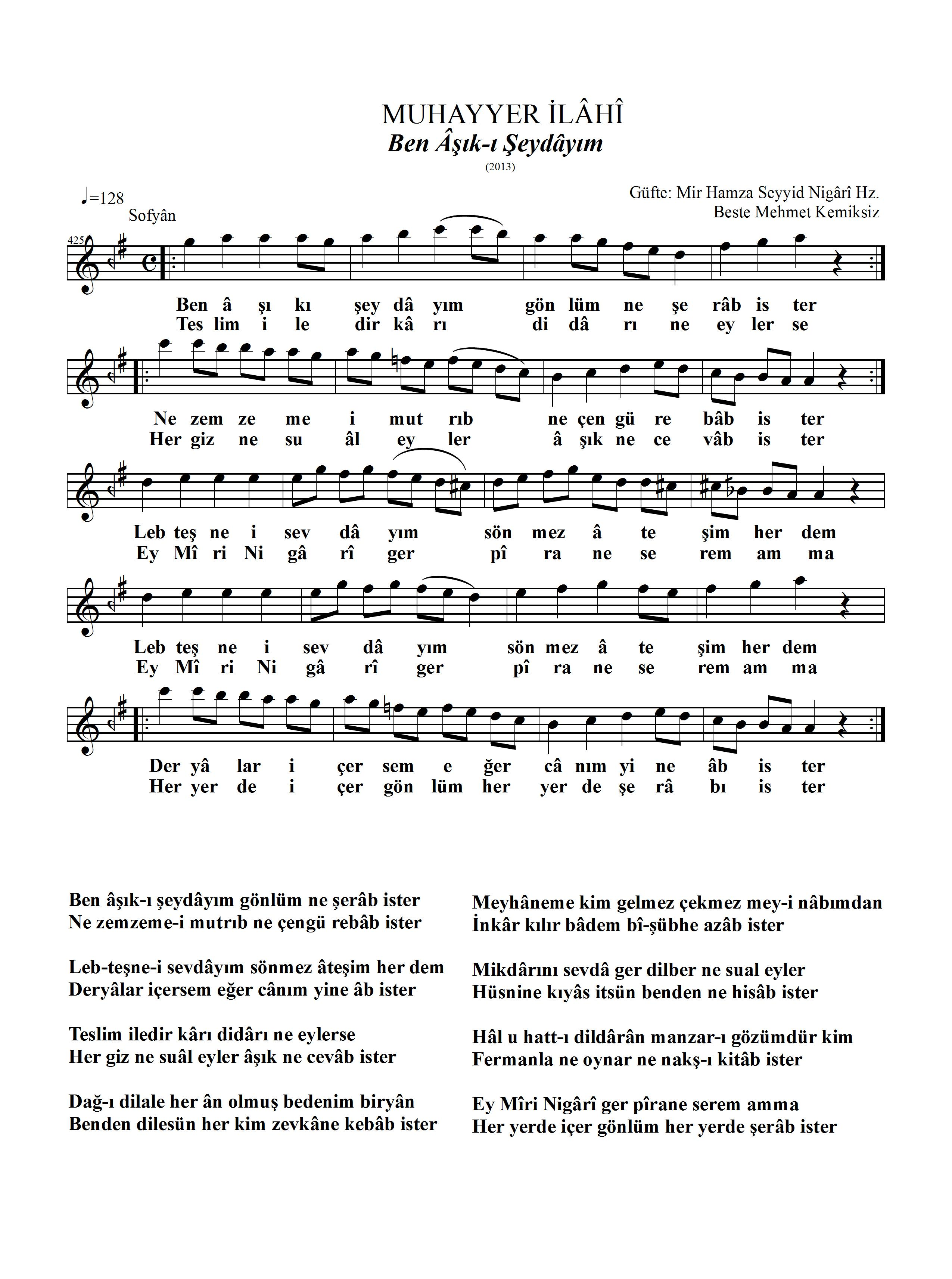 425-Muhayyer/ Ben Âşık-ı Şeydâyım