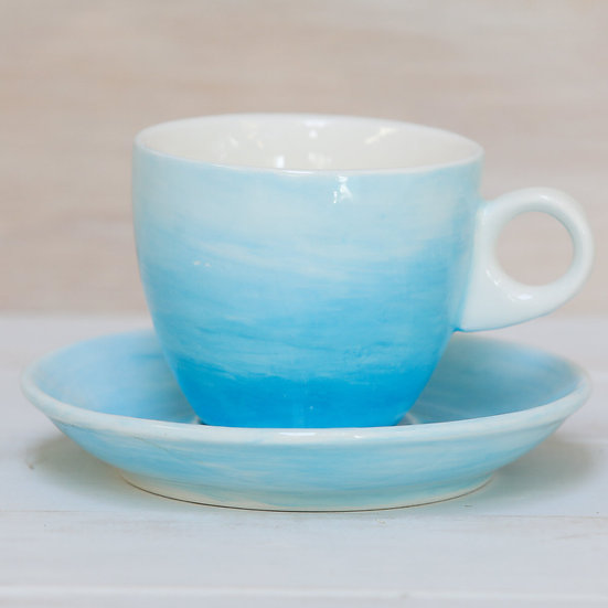 ceramic pottery cup and saucer coastal colours by starfish photos | design