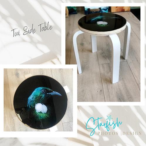 New Zealand tui bird resin side table starfish photos   Design Dunedin