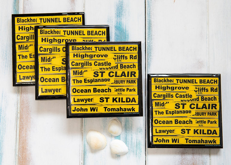 St Clair Road signs - Set 4 Coasters