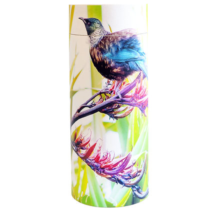 nz tui in flax native bird scatter tube cremation ash remembrance ©tributes funeral supplies