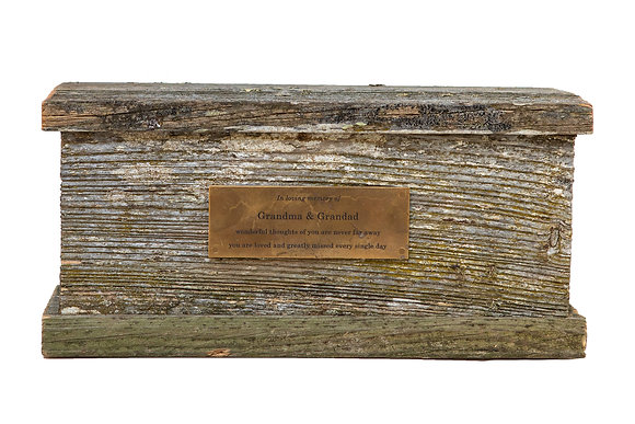 woodland rustic cremation ash urn nz made brass plaque ©tributes funeral supplies