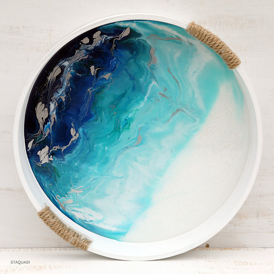 round serving tray resin fluid art starfish photos | design made in NZ
