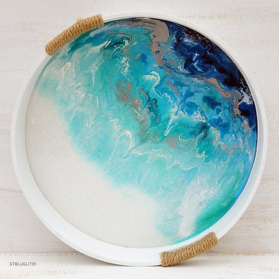 round serving tray resin fluid art starfish photos | design made in NZ