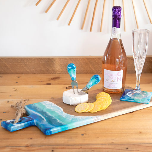 resin cheese board and knives with wine.jpg