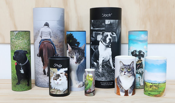 pet remembrance cremation ash scatter tube custom design ©tributes funeral supplies