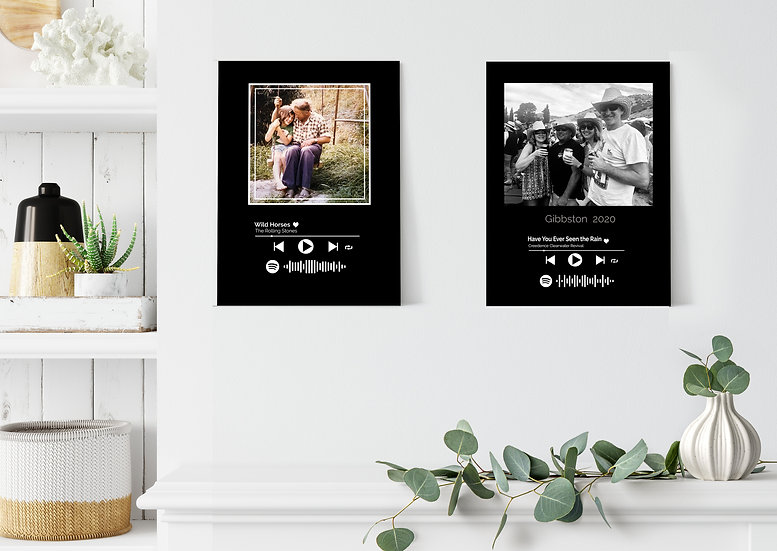 spotify music photo frame block gift weddings birthdays rememberance