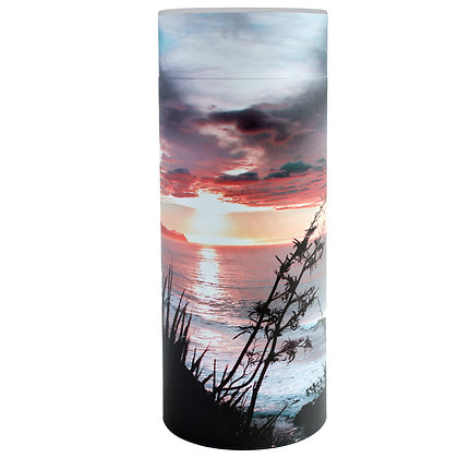 beach sunrise ocean flax New Zealand cremation ash scatter tube ©tributes funeral supplies
