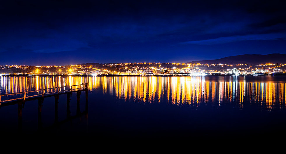 City lights Otago harbour