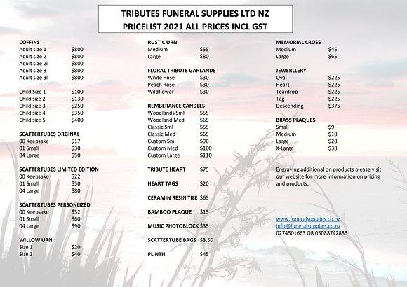 Tributes Digital price List 2021