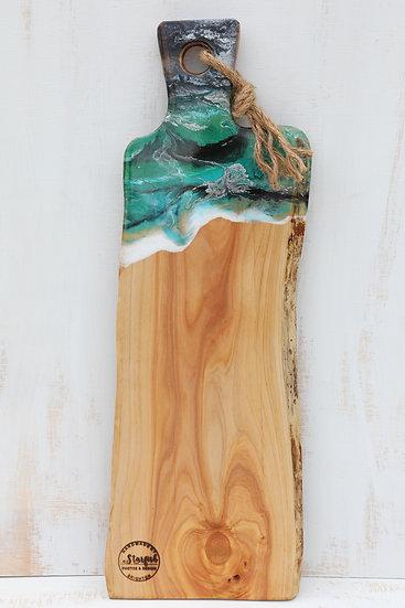 Grazing cheese serving board resin art glass art art resin macrocarpa wood platter starfish photos | design made in NZ