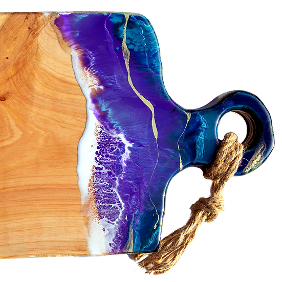 resin grazing cheese serving board glacial lakes colours nz made macrocarpa