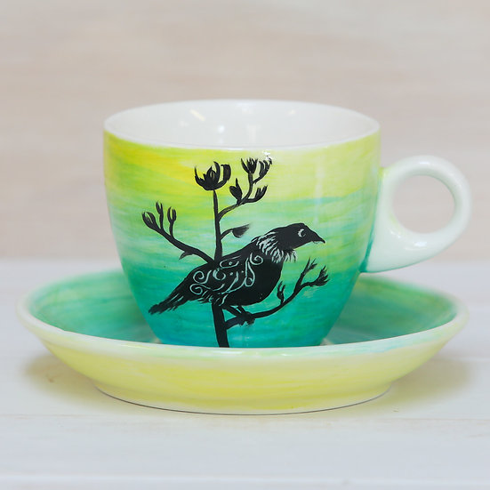 ceramic pottery cup and saucer hand painted tui by starfish photos | design