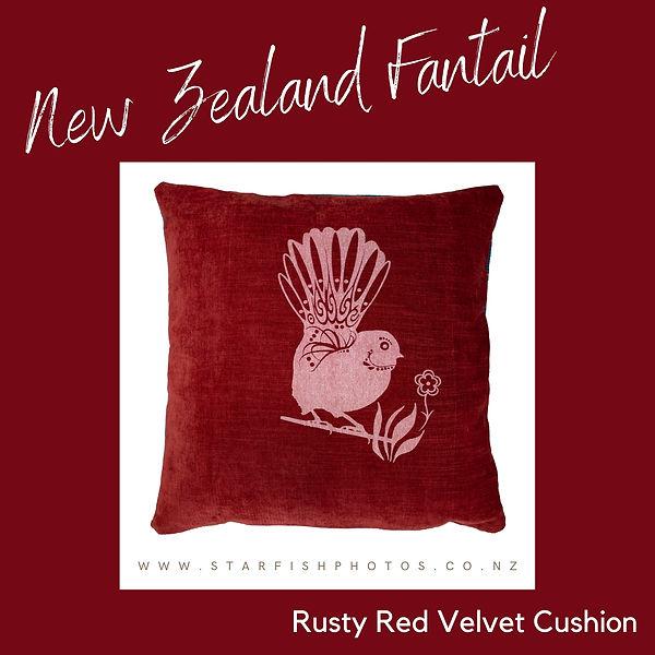 Fantail cushion rusty red velvet.jpg