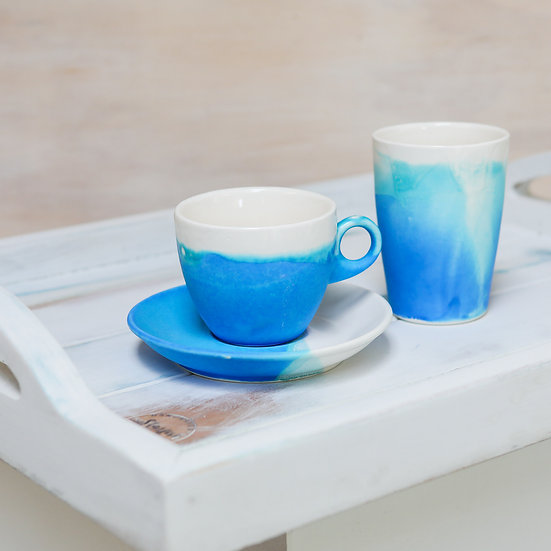 ceramic pottery cup saucer and keep cup abbots bora bora coastal blues starfish photos | design