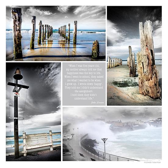 St Clair photos poles, shark bell, esplanade surf wave, beach Dunedin New Zealand ©Starfish Photos | Michele Newman Photograp
