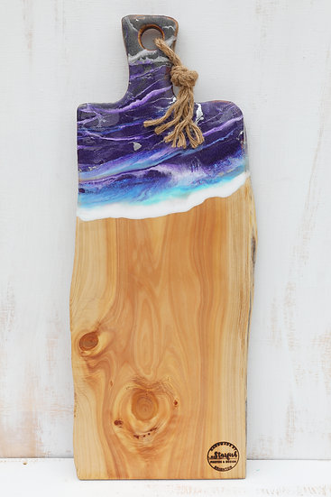 Grazing cheese serving board resin art purple art resin macrocarpa wood platter starfish photos | design made in NZ